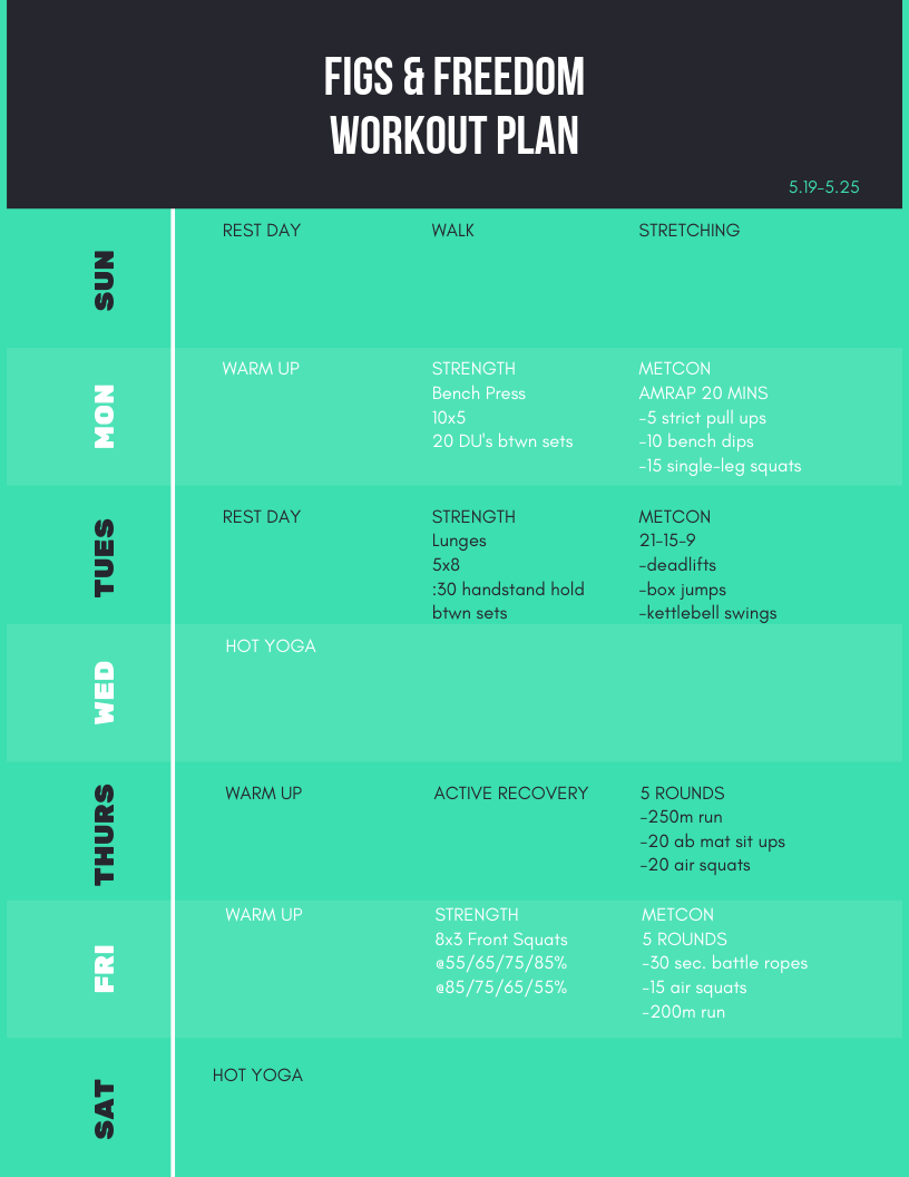 Workout plan 5.19-5.25