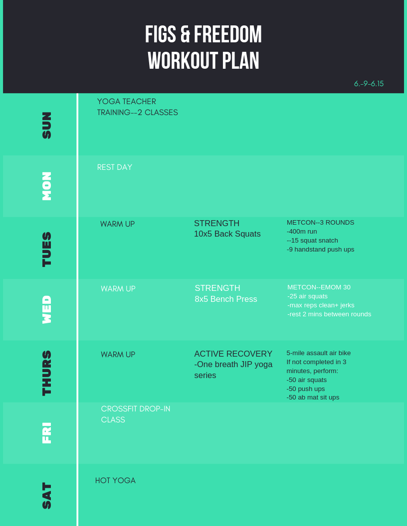 workout plan 6.9-6.15